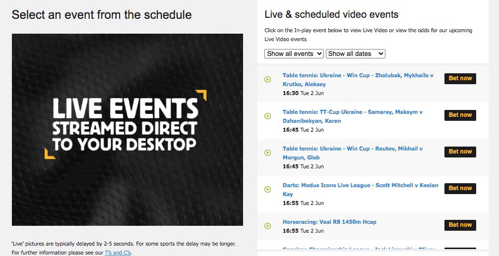 betfair live streaming video